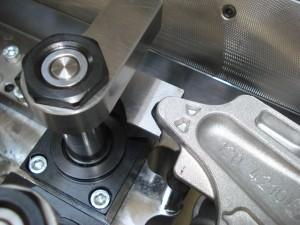 Detail polohování a upínání hydraulického přípravku
